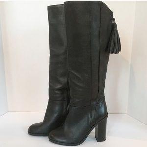 NWOT Zara Basics Tall Leather Boots w/ Tassel